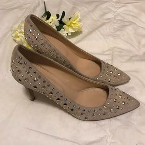 J. Crew Everly Studded pumps in pale thistle